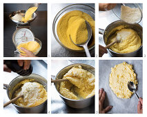 Polenta with grated grana padano being made