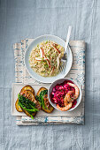 Barley risotto with apple, white turnips and walnuts, beetroot salad with potatoes and prawns & crostini with rapini and bacon