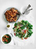 Green Mango and Coconut Salad and Chilli Salt Prawns
