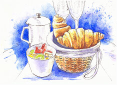 Breakfast with croissants, fruit salad and a pot of coffee (illustration)