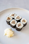 Vegan maki sushi with shiitake mushrooms and pickled ginger