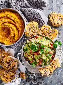 Roasted Carrot Hummus and Spicy Guacamole