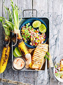 Fish and Roasted Corn with Capsicum Salad