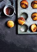 Kaya madeleines with chocolate sauce