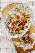 Gnocchi with gorgonzola, Parma ham and honeyed walnuts