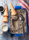 Home black sesame seed ice cream