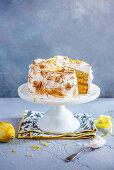 Lemon cake with sponge, lemon curd and italian meringue