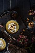 Autumnal celeriac soup with sourdough croutons