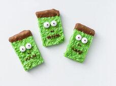 Frankenstein puffed chocolate for Halloween