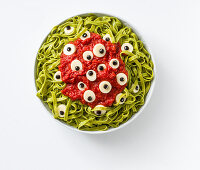 Bloody tagliatelle with gross eyes for Halloween