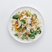Porcini mushroom and button mushroom carpaccio on a potato fritter