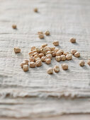 Dried chickpeas on a cotton cloth