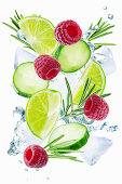 Lime, cucumber, rosemary and raspberry flying with ices and water splash