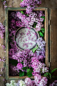 Lilac sugar in a crate from above