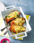 Golden aubergine boats with vegetable ragù