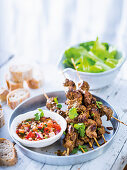 Beef kebabs with chilli and peanut sauce (Peru)