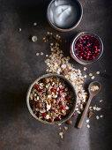 Rustic arrangement of granola for breakfast