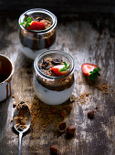 Jar with strawberry and chocolate