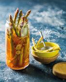 Smoky pickled green asparagus