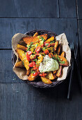 Potato wedges with salsa