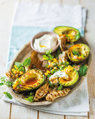Chargrilled avocado and chicken salad