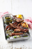 Lamb ribs with mint sauce