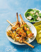 Sticky chicken and pineapple skewers