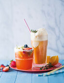 Honey rooibos and thyme float, berry tea float