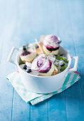 Frozen blueberry cheesecake jars