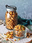 Roasted sweet and sour chickpeas beans