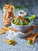 Chia and tomato guacamole with sumac crisps