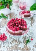 Baked chocolate and raspberry cheesecake