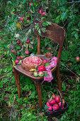 Apple rose tart on wooden chair in garden