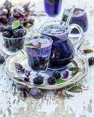 Lemonade with blackberries and purple basil