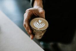 Cappuccino with a milk foam pattern