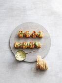 Grilled salmon and mushroom skewers