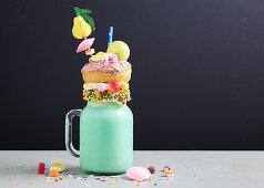 Freak Shake - Bubblegum milkshake with donut and sweets