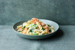 Fusilli with prawns in a creamy lettuce sauce