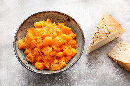Sous vide pumpkin ragout with grilled bread