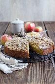 An autumnal pumpkin and apple crumble cake