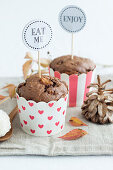 chocolate muffins with pears and Raffaello
