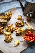 Indian onion bhaji with mango chutney