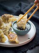 Gyoza (dumplings, Japan) served with soy sauce