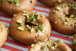 Doughnuts decorated with Pistachio
