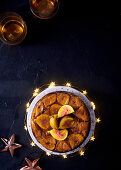 Upside-down fig cake with sticky toffee sauce