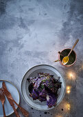 Charcoal-smoked red cabbage with maplemustard vinaigrette