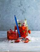 Strawberry and basil iced tea