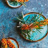 Twig sea buckthorn berries