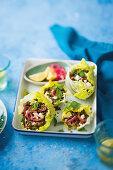 Lettuce and lentil cups