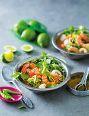 Spicy tom yum soup with litchis and prawns